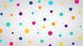 Network Color Communication Background, Abstract Social Network, Flat Vector Design poster