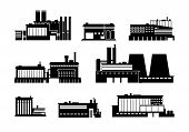 Factory, Power And Manufacturing Plant Black Silhouette Icons Isolated. Heavy Industry Vector Symbol poster