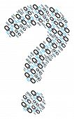 Question Mark Mosaic Made From Break Chain Link Pictograms. Vector Break Chain Link Icons Are United poster