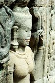 picture of asura  - Close up of sulptured apsara Siem Reap Cambodia - JPG