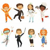 Young Kids Boys And Girls Of Different Professions. Policeman And Painter, Chemist Male Kid. Vector  poster