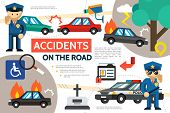 Flat Road Accident Infographic Template With Car Crash Burning Automobile Pedestrian Hit Police Offi poster