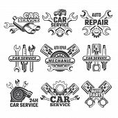 Vintage Labels Set With Illustrations Of Automobile Tools. Auto Service Or Garage Maintenance Car Ve poster