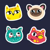 Cute Cats Set Stickers On Dark Blue Background Striped Yellow Pussy Siamese Smiling Kitty Pink Pussy poster