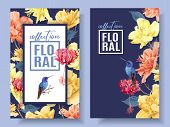 Vector Tropical Banners With Bright Flowers And Hummingbird On Dark Blue. Exotic Floral Design For C poster