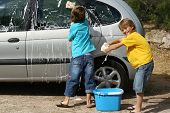 foto of car wash  - children helping with chores washing family car - JPG