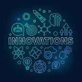Innovations Vector Round Blue Illustration Made Of Innovation Technology Thin Line Icons On Dark Bac poster
