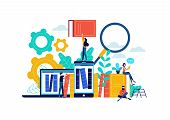 Virtual Book Library Illustration, People Studying For College Exam Preparation, Distance Learning P poster