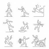 Common Accident With People Signs Black Thin Line Icon Set Safety And Insurance Concept. Vector Illu poster