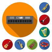 Musical Instrument Flat Icons In Set Collection For Design. String And Wind Instrument Vector Symbol poster