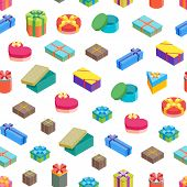 Cartoon Present Boxes Seamless Pattern Background On A White Packaging Holiday Gift Concept Flat Des poster