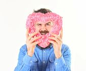 Romantic Feelings And Love Concept. Macho In Love, Shows His Romantic Feelings. Man With Happy Face  poster