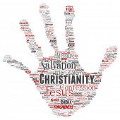 Conceptual christianity, jesus, bible, testament hand print stamp  word cloud isolated background. C poster
