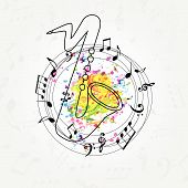 Music Colorful Background With Music Notes And Saxophone Vector Illustration Design. Music Festival  poster