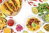 An Overhead Photo Of An Ssortment Of Many Different Mexican Food, Including Tacos, Guacamole, Pico D poster