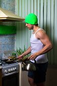Fitness man cooking poster