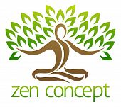 Conceptual Design Element Of A Tree In The Shape Of A Figure Sitting Crossed Legged In A Zen Yoga Lo poster