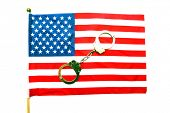 Police Hand Cuffs. Police Handcuffs isolated on an American Flag with room for text.  poster