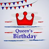 Illustration Of Crown, Banner And Stars With Queens Birthday Text On The Occasion Of Australia Queen poster
