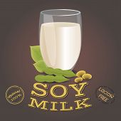 Glass Of Soy Milk With Beans. Lactose Free. Vegetarian Product, Flat Design. Vector Illustration poster