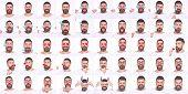 Постер, плакат: Emoji Collage Of Emotions Different Emotions Emotion Set Of Bearded Man Feeling And Emotions Em