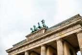 Brandenburg Gate In Berlin, Germany Or Federal Republic Of Germany. Architectural Monument In Histor poster