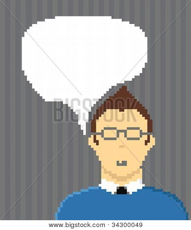Pixel style businessman with speech cloud. Template foe a text