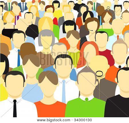 A multidão de pessoas abstratas. Ilustração vetorial