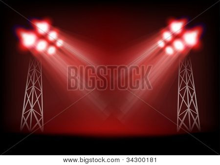 Bright stage with light masts. Template for a content