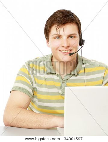 A customer service agent, isolated on white
