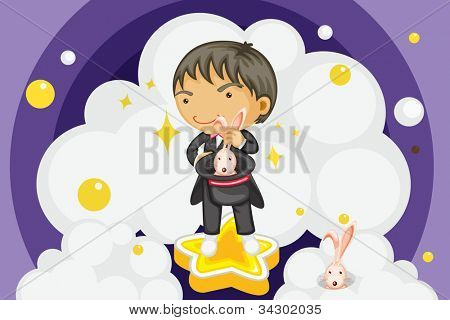 Illustration of a magician performing