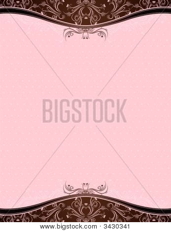 Pink Background With Decorative Ornaments, Vector