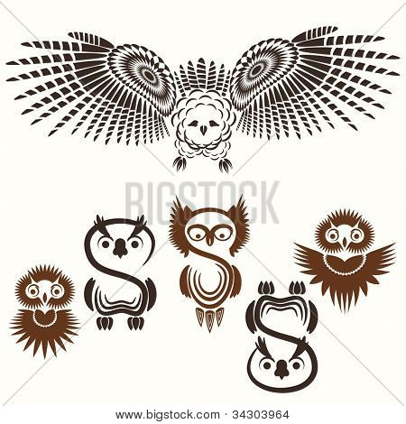 Set of various Owls