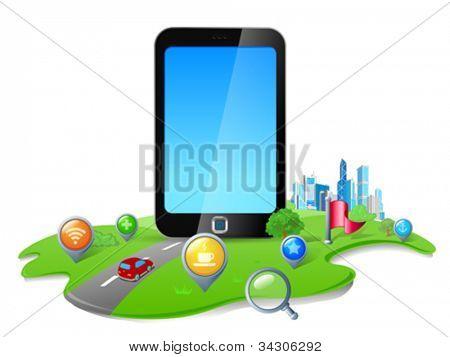 Toque el concepto de navegación GPS de teléfono de pantalla.  Mapa de la tierra 3d abstracta. Vector.