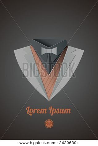 Smart casual suit. Origami business clothes. Dinner jacket Classic expensive theme. Vector.