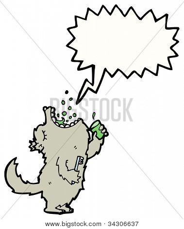 cartoon big bad wolf gargling mouth wash