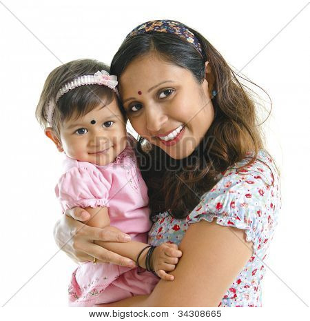 Happy modern Indian mother hugging her daughter isolated on white background