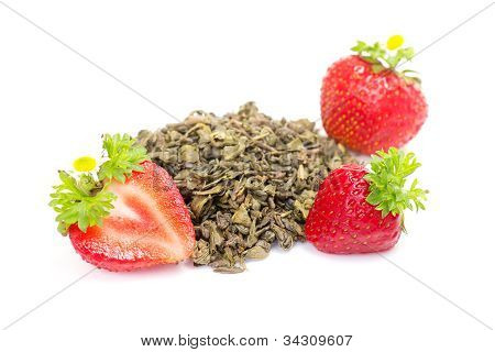 Green Fruit Tea With Strawberries On White