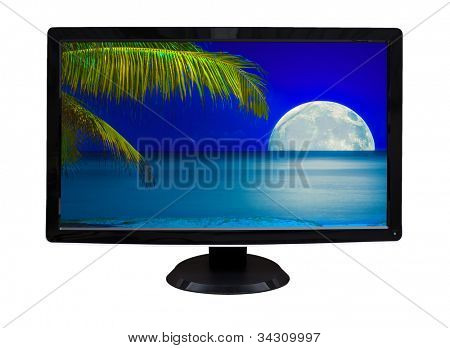 TV or computer monitor showing an image of a beautiful tropical beach at night with a glowing full moon  (isolated on white)
