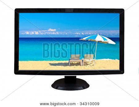 TV or computer monitor showing an image of two chairs and an umbrella on a  beautiful tropical beach  (isolated on white)