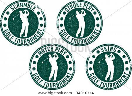 Vintage Golf Tournament Stamps