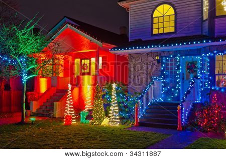 House Decorated and Lighted for Christmas at Night at Vancouver, Canada.