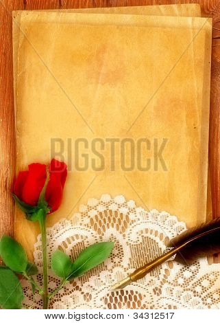 Red Rose And Parchment
