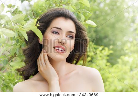 a beauty girl in nature