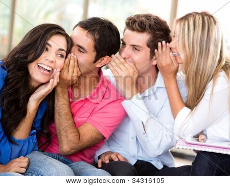 Group of students gossiping at the university