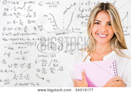 Beautiful female student looking very happy and smiling