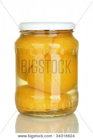 Jar of canned peaches isolated on white