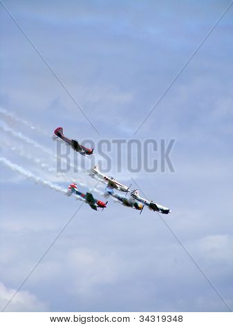 Aerobatic team Yakovlevs in the air