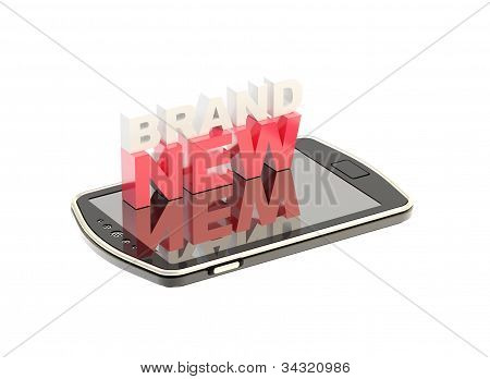 """Mobile phone concept with words """"brand new"""""""
