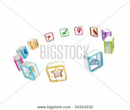 Set of computer application icons isolated